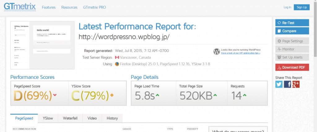 WPblog スピード測定