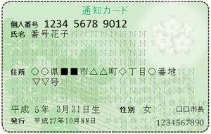 マイナンバー通知カード 表